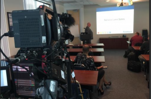 Training Seminar, 1 camera and powerpoint live-switched on location
